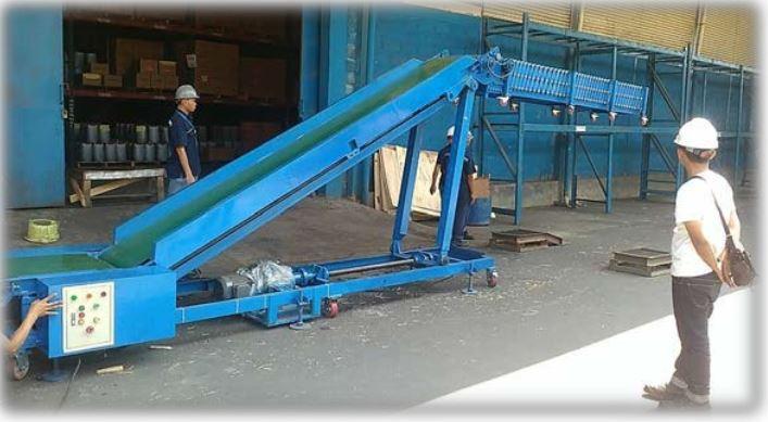 Mesin conveyor sudah terpasang